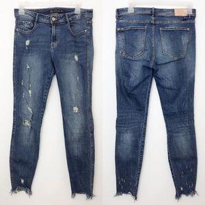 ZARA | Trafaluc Distressed Raw Hem Skinny Jeans 8